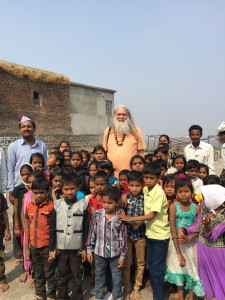 Emerging from the temple, these school children and their teacher were excited to meet a western swami in this remote village of central India. We all posed for a group picture.